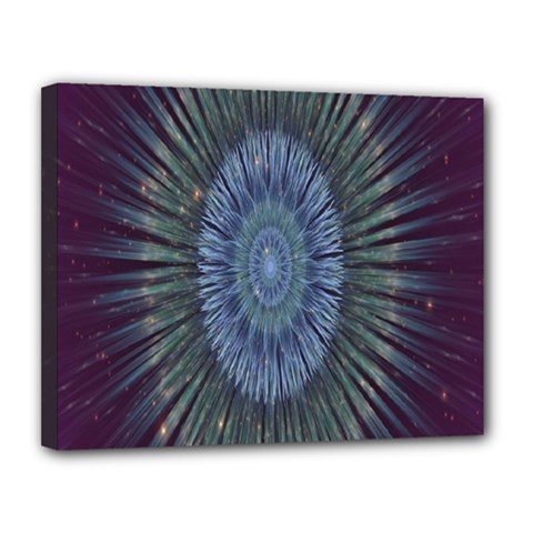 Peaceful Flower Formation Sparkling Space Canvas 14  X 11