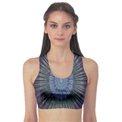 Peaceful Flower Formation Sparkling Space Sports Bra