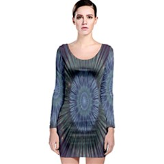 Peaceful Flower Formation Sparkling Space Long Sleeve Bodycon Dress