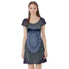 Peaceful Flower Formation Sparkling Space Short Sleeve Skater Dress