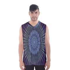 Peaceful Flower Formation Sparkling Space Men s Basketball Tank Top