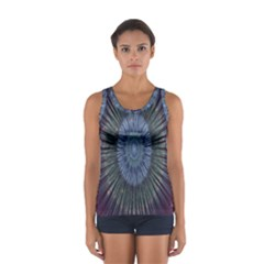 Peaceful Flower Formation Sparkling Space Sport Tank Top