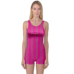 Pink Line Vertical Purple Yellow Fushia One Piece Boyleg Swimsuit