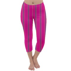 Pink Line Vertical Purple Yellow Fushia Capri Winter Leggings