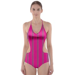 Pink Line Vertical Purple Yellow Fushia Cut Out One Piece Swimsuit