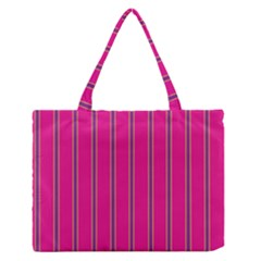 Pink Line Vertical Purple Yellow Fushia Zipper Medium Tote Bag