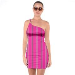 Pink Line Vertical Purple Yellow Fushia One Soulder Bodycon Dress
