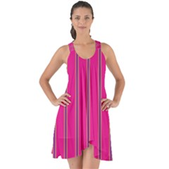 Pink Line Vertical Purple Yellow Fushia Show Some Back Chiffon Dress