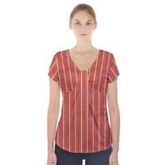 Line Vertical Orange Short Sleeve Front Detail Top