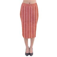 Line Vertical Orange Velvet Midi Pencil Skirt