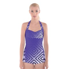 Plaid Blue White Boyleg Halter Swimsuit