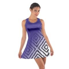 Plaid Blue White Cotton Racerback Dress
