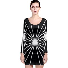 Ray White Black Line Space Long Sleeve Bodycon Dress
