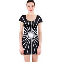 Ray White Black Line Space Short Sleeve Bodycon Dress