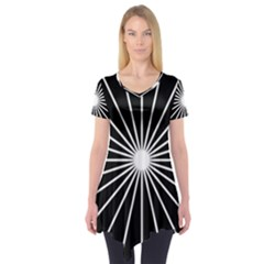 Ray White Black Line Space Short Sleeve Tunic