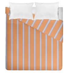 Rayures Bleu Orange Duvet Cover Double Side (queen Size)