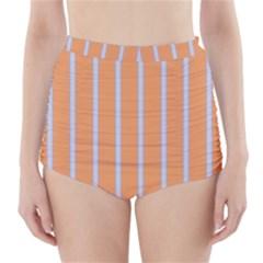 Rayures Bleu Orange High Waisted Bikini Bottoms