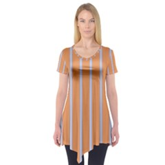 Rayures Bleu Orange Short Sleeve Tunic