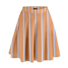 Rayures Bleu Orange High Waist Skirt