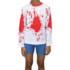 Red Blood Splatter Kids  Long Sleeve Swimwear