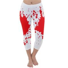 Red Blood Splatter Capri Winter Leggings