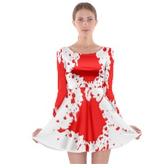 Red Blood Splatter Long Sleeve Skater Dress