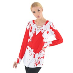 Red Blood Splatter Tie Up Tee