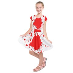 Red Blood Splatter Kids  Short Sleeve Dress