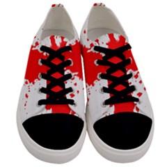 Red Blood Splatter Men s Low Top Canvas Sneakers