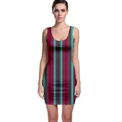 Red Blue Line Vertical Bodycon Dress