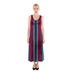 Red Blue Line Vertical Sleeveless Maxi Dress