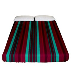 Red Blue Line Vertical Fitted Sheet (california King Size)