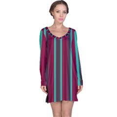 Red Blue Line Vertical Long Sleeve Nightdress