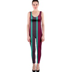Red Blue Line Vertical Onepiece Catsuit