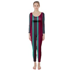 Red Blue Line Vertical Long Sleeve Catsuit