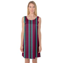 Red Blue Line Vertical Sleeveless Satin Nightdress