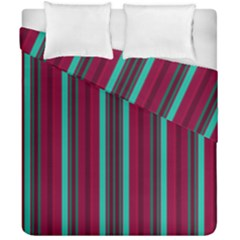 Red Blue Line Vertical Duvet Cover Double Side (california King Size)