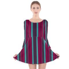 Red Blue Line Vertical Long Sleeve Velvet Skater Dress