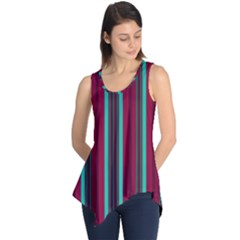 Red Blue Line Vertical Sleeveless Tunic
