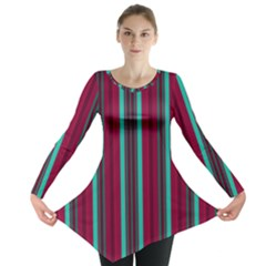 Red Blue Line Vertical Long Sleeve Tunic
