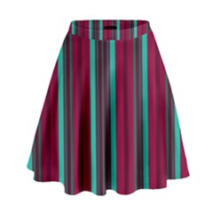 Red Blue Line Vertical High Waist Skirt