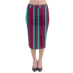Red Blue Line Vertical Midi Pencil Skirt
