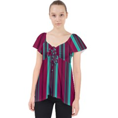 Red Blue Line Vertical Lace Front Dolly Top