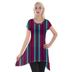 Red Blue Line Vertical Short Sleeve Side Drop Tunic