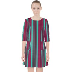 Red Blue Line Vertical Pocket Dress