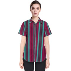 Red Blue Line Vertical Women s Short Sleeve Shirt