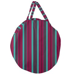Red Blue Line Vertical Giant Round Zipper Tote
