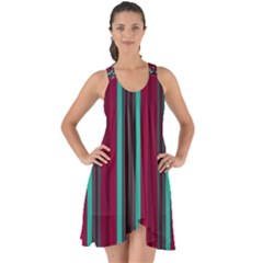 Red Blue Line Vertical Show Some Back Chiffon Dress
