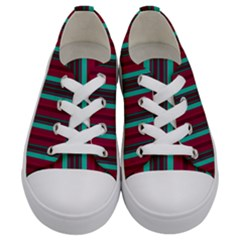 Red Blue Line Vertical Kids  Low Top Canvas Sneakers