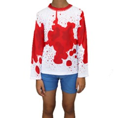 Red Blood Transparent Kids  Long Sleeve Swimwear